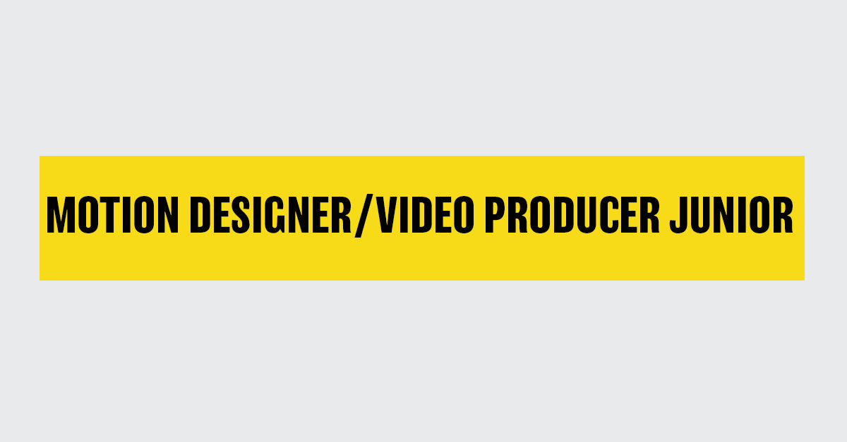 Motion designer/video producer junior (f/h) – CDI